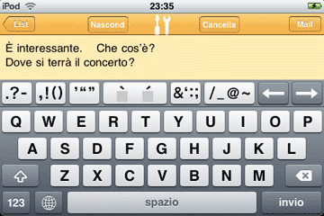 Easy Mailer Italian Keyboard Landscape Screenshot